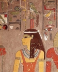 ИЗОБРАЖЕНИЕ ДРЕВНЕЕГИПЕТСКОЙ БОГИНИ НЕБА ХАТОР на внутренней стене гробницы египетского фараона...